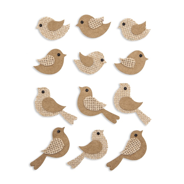 3D Nálepky vtáčiky / 12 ks