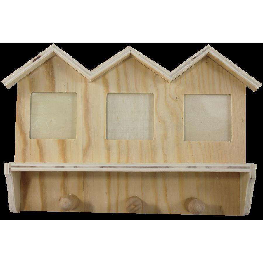 Drevený držiak na kľúče - domček