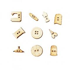 Leseni miniaturni gumbi - različni kompleti