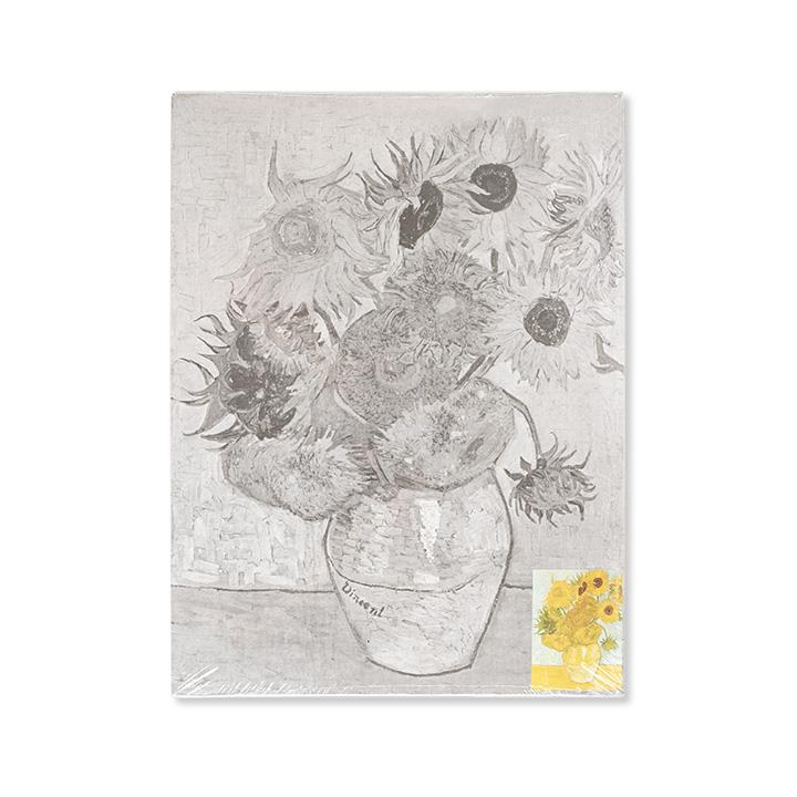 """Plátno na lepenke so skicou umeleckého diela """"Sunflowers"""""""