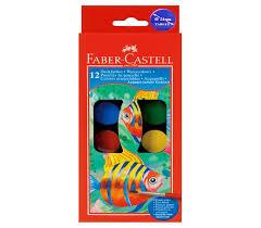 Vodové farby 12 farebné. 24mm (vodové farby Faber Castell)