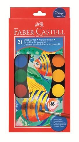 Vodové farby 21 farebné. 30mm (vodové farby Faber Castell)