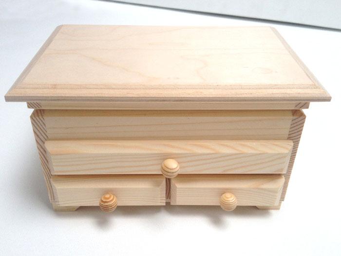 Drevená šperkovnica s 3 zásuvkami (drevené polotovary na dekupáž)