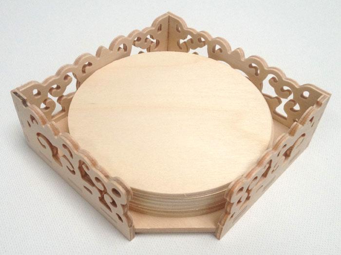 Ažúrová krabička so 6 podložkami pod poháre (drevené polotovary na dekupáž)