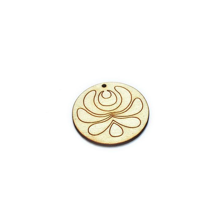 Drevený polotovar na výrobu bižutérie - kruh s ornamentom (drevené polotovary na kreatívnu tvorbu)