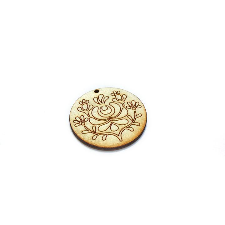 Drevený polotovar na výrobu bižutérie - kruh s ornamentom 2 (drevené polotovary na kreatívnu tvorbu)