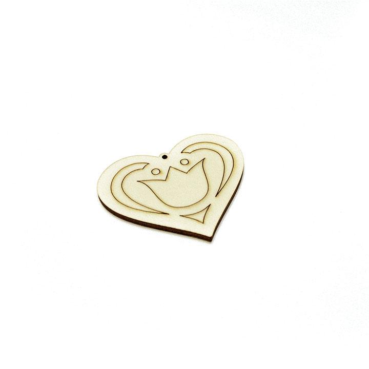 Drevený polotovar na výrobu bižutérie - srdce s ornamentom (drevené polotovary na kreatívnu tvorbu)