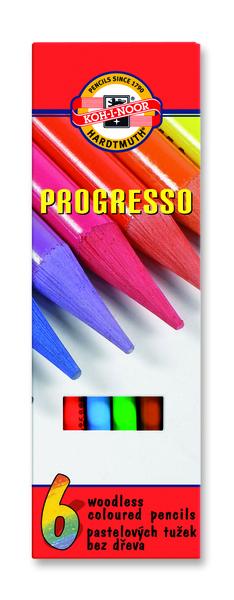 Sada pastelových ceruziek v laku PROGRESSO / 6 dielna (pastelové ceruzky KOH-I-NOOR)