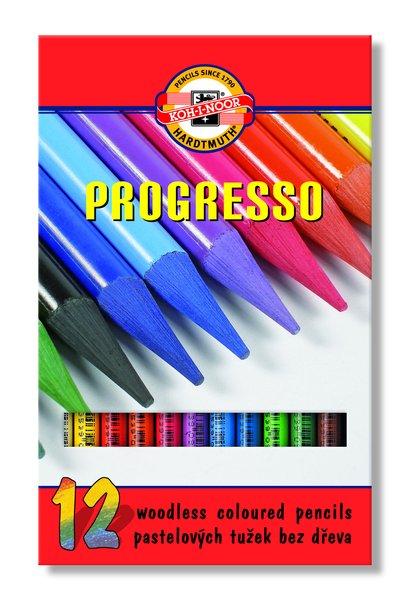 Sada pastelových ceruziek v laku PROGRESSO / 12 dielna (pastelové ceruzky KOH-I-NOOR)