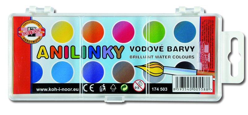 Vodové farby brilantné anilínové KOH-I-NOOR / 12 farieb (vodové farby ANILINKY)