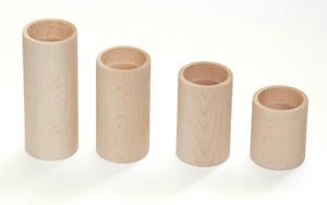 Komplet 4 okrúhlych drevených svietnikov (Drevené svietniky)