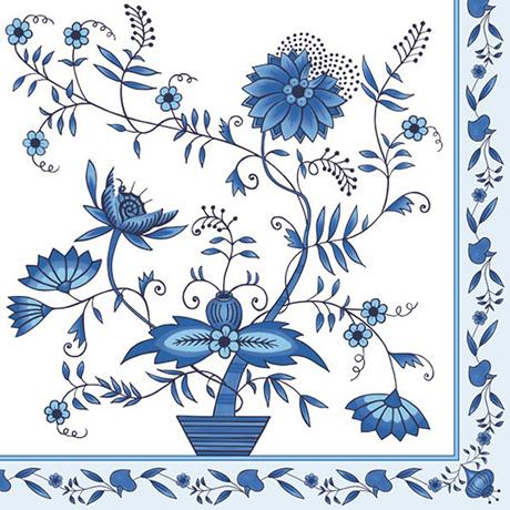Servítky na DEKUPÁŽ - Modré kvety - 1ks