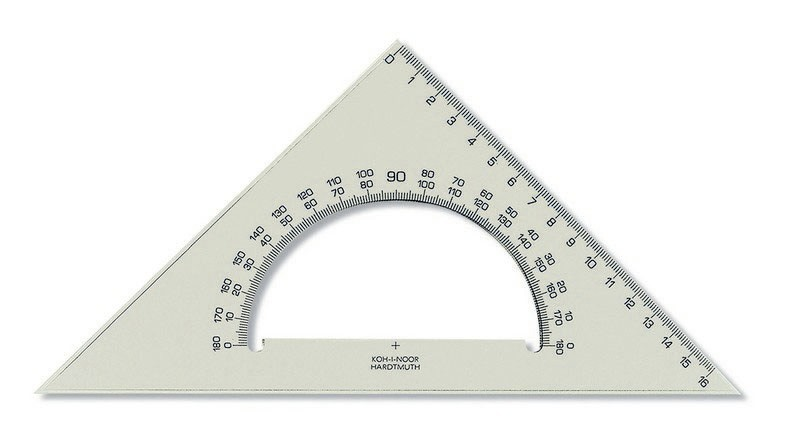 Trojuholník 45/177 s uhlomerom KKO