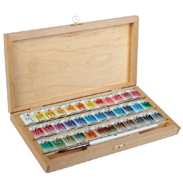 """Akvarelové farby """"White Nights"""" v drevenom boxe / rôzne sety"""