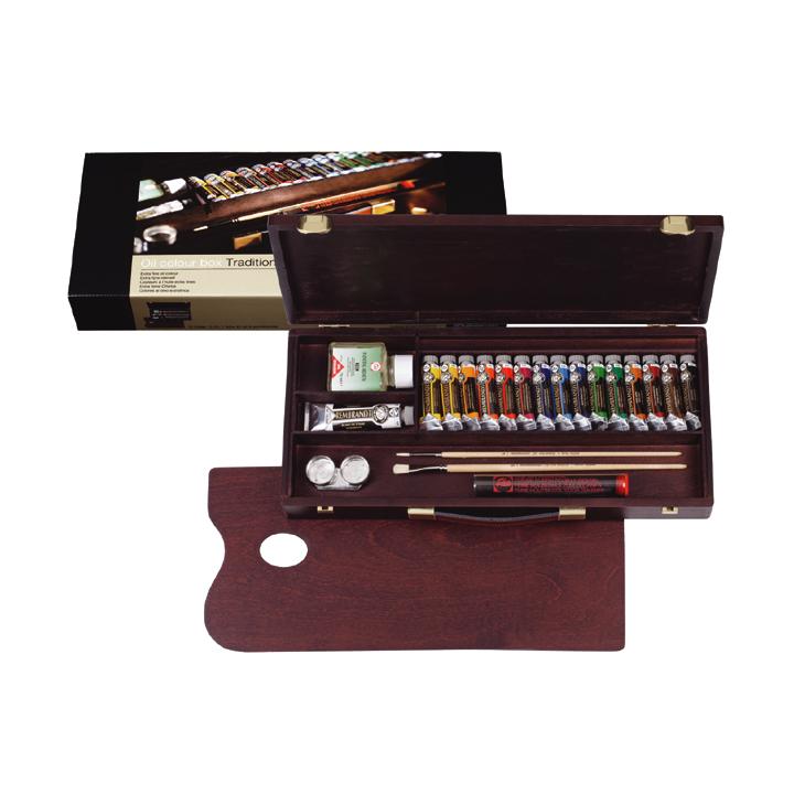 Olejové farby Rembrandt box traditional/15x15ml +1x40ml + príslušenstvo