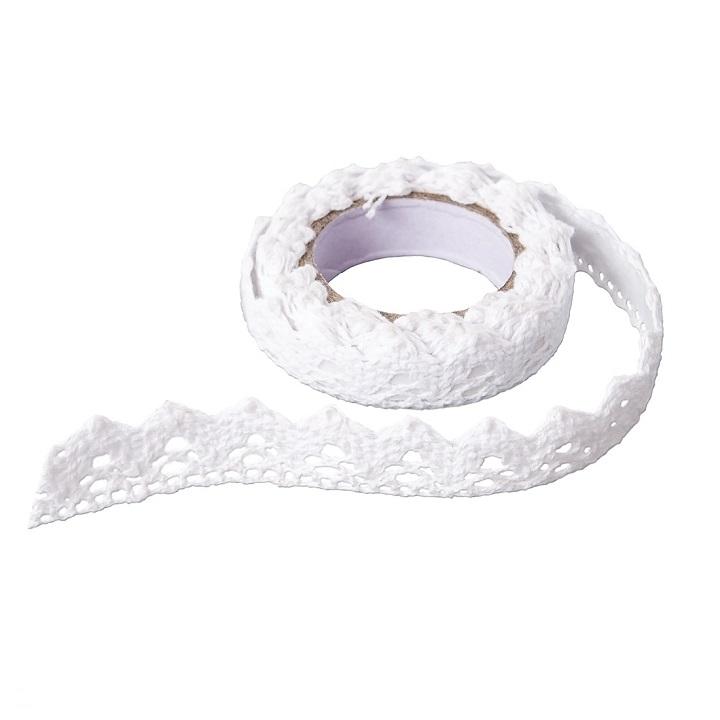 Bavlnená samolepiaca stuha krajka 1,8 m / White