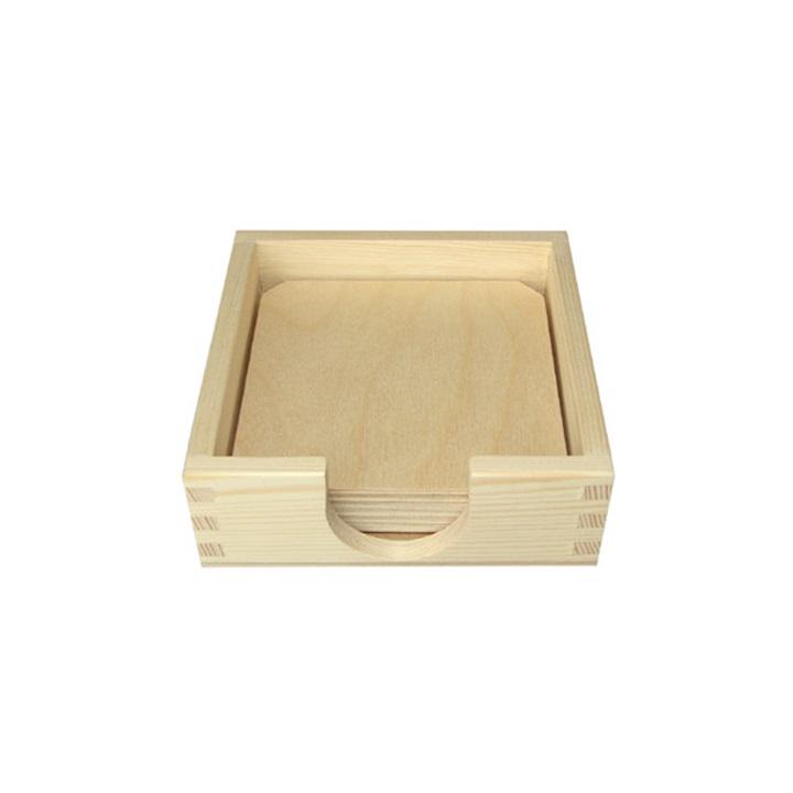 Drevená krabička s 6 podložkami pod poháre