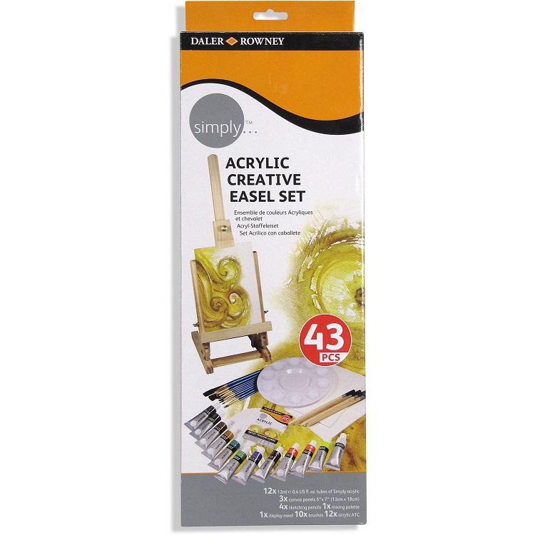Kreatívna akrylová sada so stojanom Daler-Rowney Simply / 43 dielna