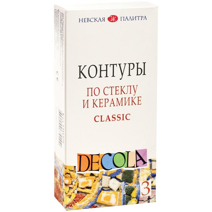 Sada kontúrovacích farieb Decola na sklo a keramiku / 3 x 18 ml