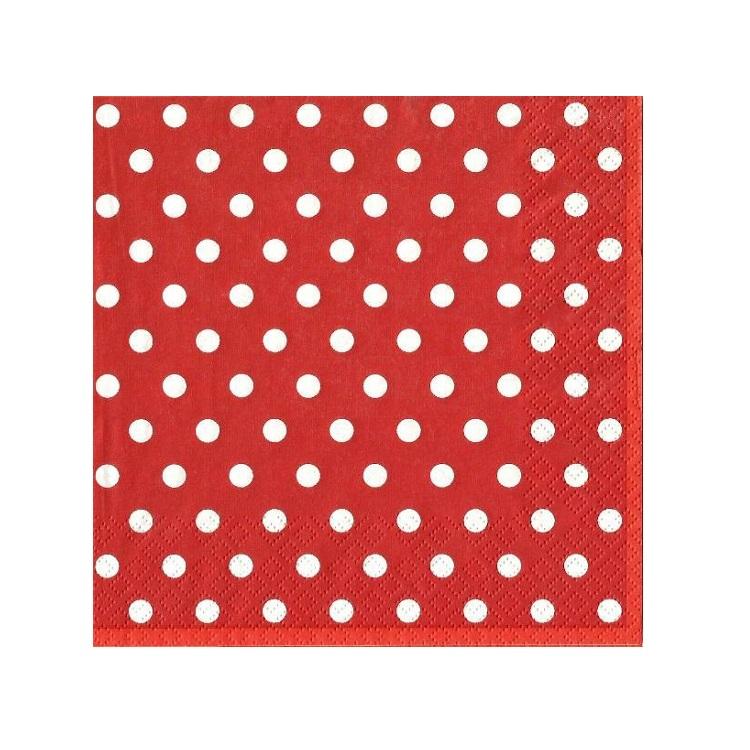 Servítky na dekupáž – Červená s bodkami – 1 ks