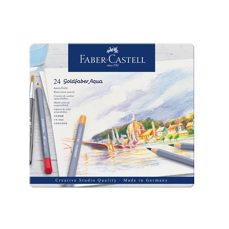 Akvarelové pastelky Goldfaber Aqua set 24 farieb / plechové puzdro