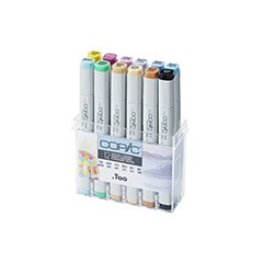 Popisovače COPIC Classic Pastel Colours / sada 12 ks