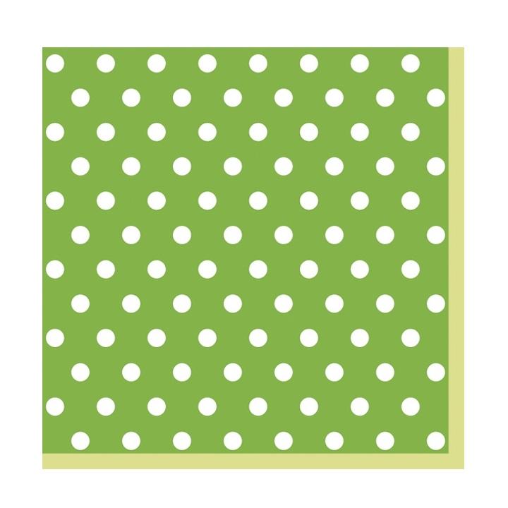 Servítky na dekupáž – Zelená s bodkami – 1 ks