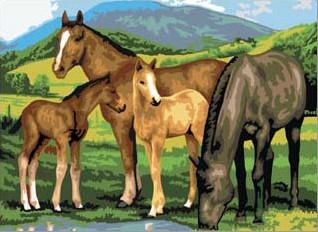 Kreatívny set na maľovanie - Kone na lúke A3 (sada na maľovanie podľa čísel Royal & Langnickel)
