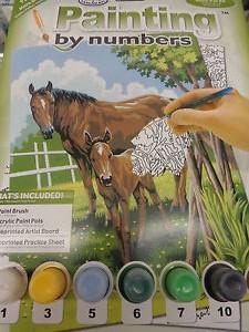 Kreatívny set na maľovanie - Kôň a žriebätko (set na maľovanie podľa čísel)