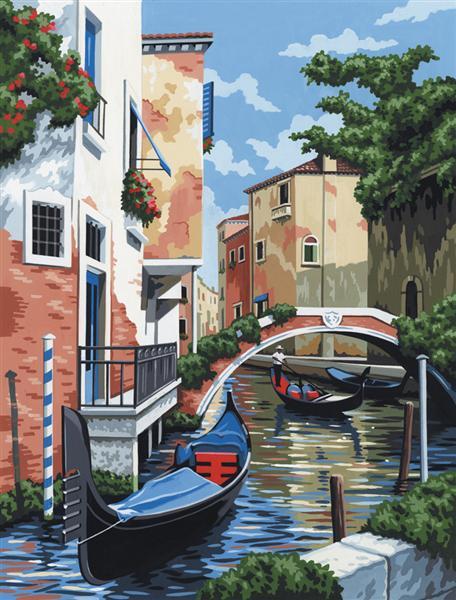Kreatívny set na maľovanie na plátne - Benátky (sada na maľovanie podľa čísel Royal & Langnickel)