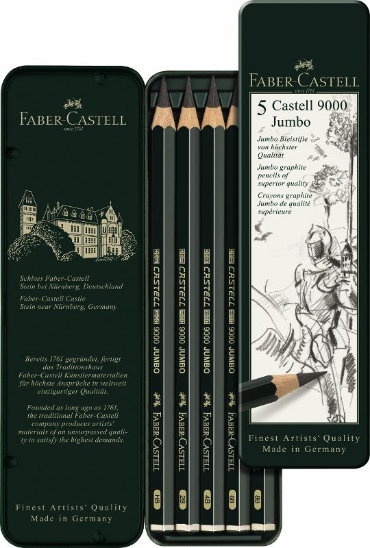 Ceruzky CASTELL 9000 Jumbo/5 - plech (Faber Castel - Grafitové ceruzky)