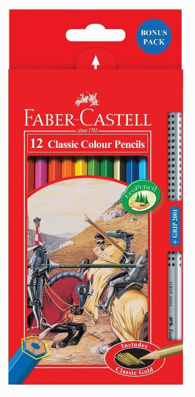 Pastelky Castell set 12 farebné+ceruzka GRIP 2001 ZDARMA (Faber Castel - Pastelky Klasik)