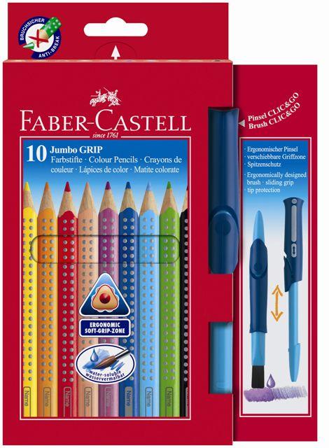 Pastelky Jumbo Grip set 10 ks + štetec klik (Faber Castel - Akvarelové pastelky)