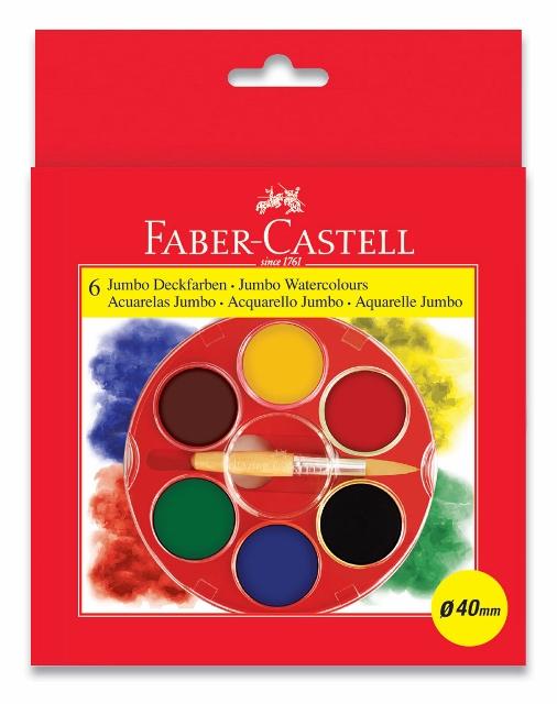 Vodové farby 6 farebné. Jumbo Klasik (Faber Castel - Vodové farby)
